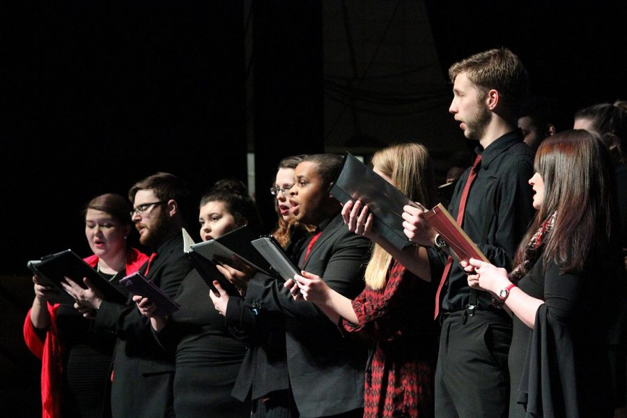 UNA+Opera%27s+choir+sings+at+%E2%80%9CPortrait+of+Langston%E2%80%9D+at+Norton+Auditorium+Feb.+16.+%E2%80%9CDr.+%28Terrance%29+Brown+did+a+fantastic+job+organizing+the+choir+together%2C%E2%80%9D+said+freshman+Preston+Burks.+%E2%80%9CThey+sounded+really+great.%E2%80%9D
