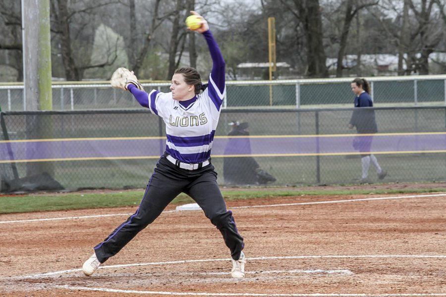 North Alabama senior pitcher Hillary Carpenter winds up against Lee March 11 in Florence. The Lions are back in the hunt in the Gulf South Conference standings after sweeping West Alabama March 18-19 to improve to 9-6 in the GSC.