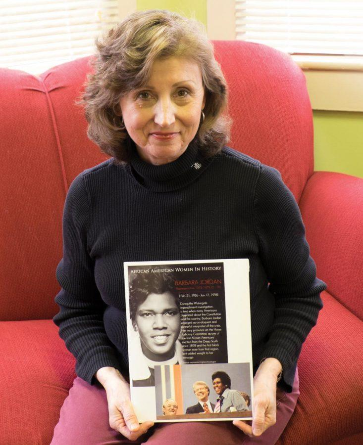 Lynn Rieff, director for the Center for Women's Studies, poses with her heroine Barbara Jordan. Emily Kelley, coordinator of the Center for Women's Studies, said she and Rieff plan to present the project annually.