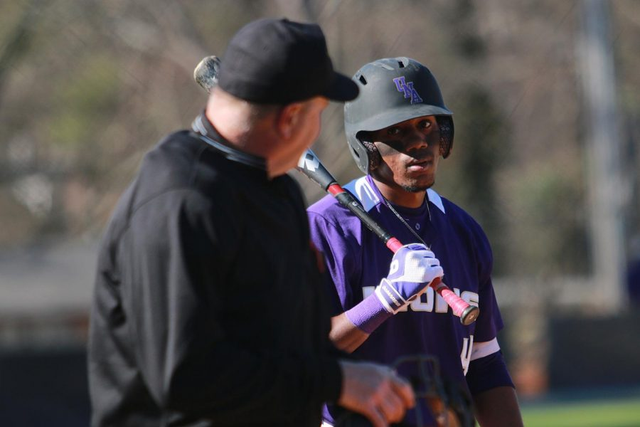 North Alabama junior outfielder T.J. Lockett eyes up the umpire at the plate during the Lions' home game versus Shorter Feb. 26. The Lions earned a 2-0 sweep over visiting Miles during a midweek double-header March 28.