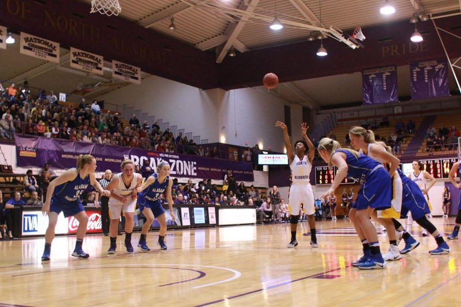 North Alabama women's basketball junior KeKe Gunter shoots a free-throw at Flowers Hall against Alabama-Huntsville in the 2016-17 season. Flowers Hall has been a mainstay of Lion athletics since its construction in 1972.