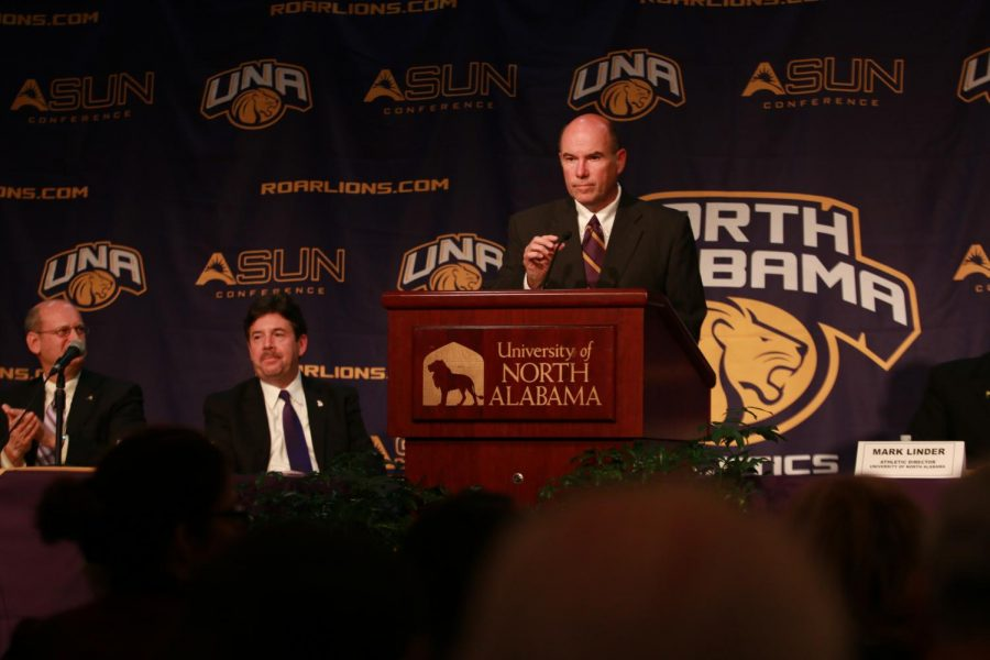 North Alabama Assistant Athletic Director of Communications Jeff Hodges addresses the crowd gathered at UNA's announcement of its transition to Division I-Football Championship Subdivision Dec. 6. Hodges was named the 2017 Arch Ward Award winner March 3 for his contributions to the sports information profession.