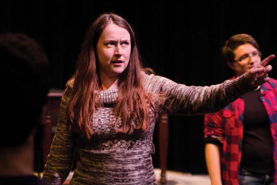 Senior+Caitlynn+Tomlinson+rehearses+her+lines+as+a+town+squire+in+%E2%80%9CThe+Inspector+General%E2%80%9D+at+the+George+S.+Lindsey+Theatre.+%E2%80%9C%28The+play+is%29+a+farce+making+fun+of+government+in+general+and+all+of+its+obvious+stereotypes%2C+like+being+corrupt%2C+untrustworthy+and+not+very+good+at+their+jobs%2C%E2%80%9D+said+senior+Edwin+Huertas%2C+who+plays+the+mayor.