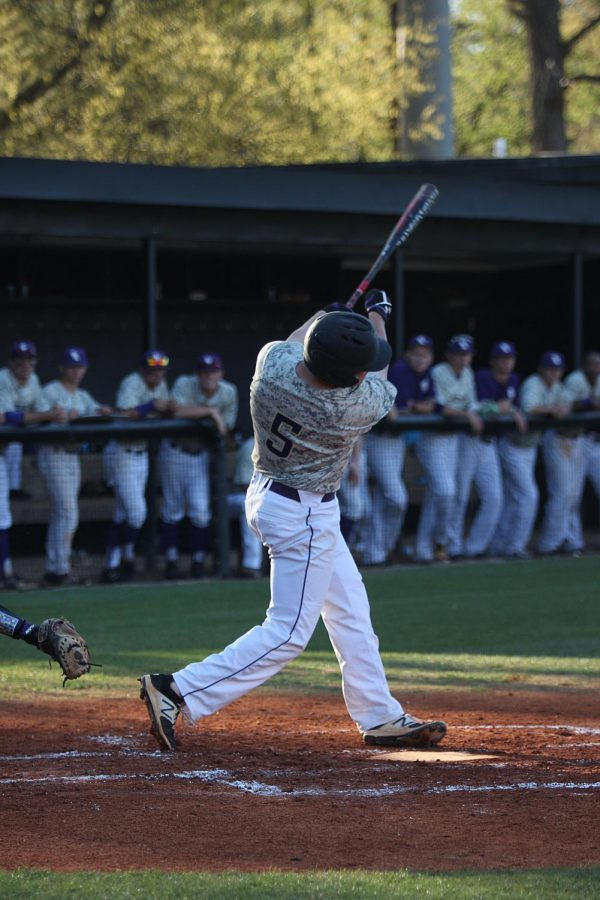 North+Alabama+infielder+Brandt+Holland+at+the+plate+in+the+Lion%27s+midweek+home+game+against+Trevecca+Nazarene+April+4.+UNA+improved+to+21-14+overall+with+the+victory.