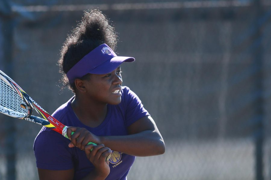 Ngouabeu+returns+a+serve+against+Cameron+University+Feb.+15.+Ngouabeu+has+aided+the+Lions+throughout+the+season+helping+the+Lions+to+the+GSC+conference+tournament.