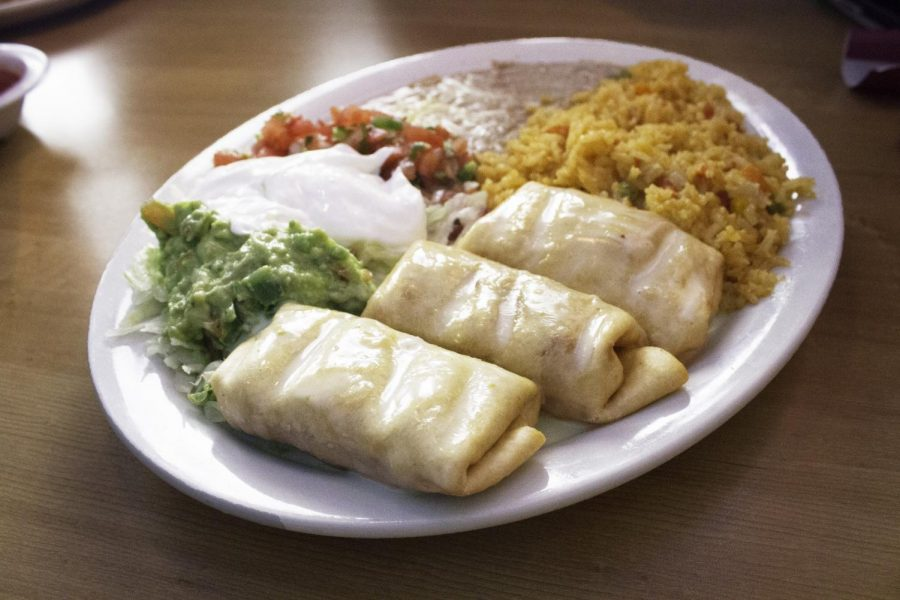 Chimichangas+are+a+fan+favorite+dish+at+Fiesta+Mexican+Restaurant.%C2%A0The+restaurant%C2%A0offers+quality+food+for+an+affordable+price+for+college+students.