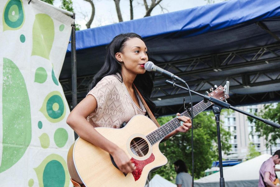 Sophomore Tiera Leftwich performs at Centennial Park in Nashville, Tn., as part of the Musicians Corner music series. Leftwich is planning to release her second country EP later this year.