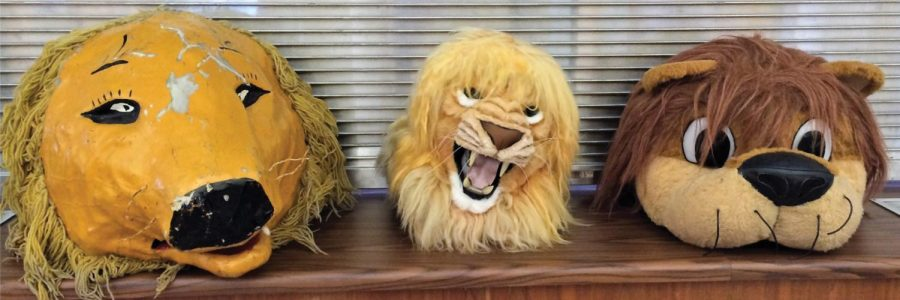 "Old mascot heads sit on a shelf in the UNA Archives. They will be used as a ""selfie station"" as part of a homecoming archives exhibit in Collier Library."