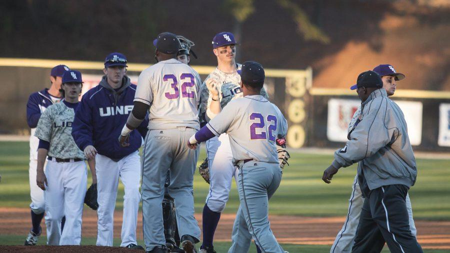 The+North+Alabama+baseball+team+celebrates+a+win+against+Lemoyne-Owen+Feb.+15%2C+2017.+The+Lions+open+with+a+three-game+series+in+Malibu%2C+California+Feb.+2.