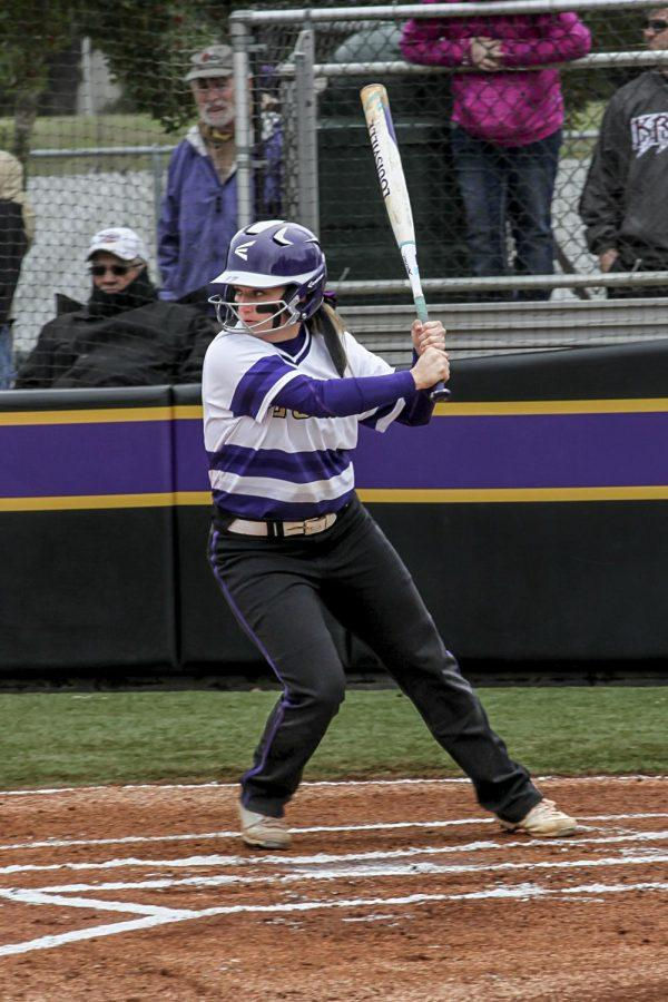 Senior Bailey Nelson gets to ready to hit the ball against Lee March 11, 2017. The Lions start the season in Gulf Shores where they play six teams in three days to begin the season, but the home opener is Feb. 24.