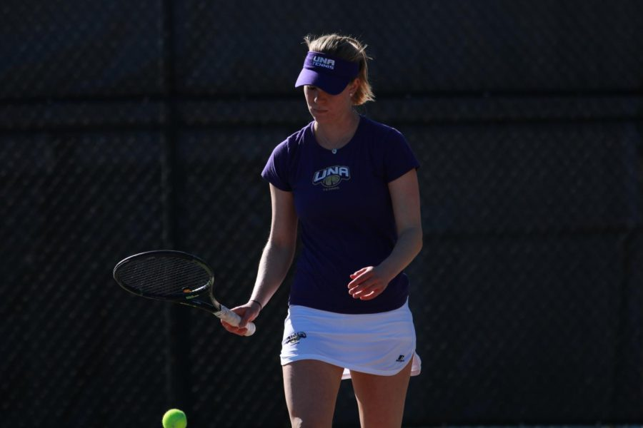 Sophomore+Nina+Linke+gets+ready+to+serve+in+a+match+against+Martin+Methodist+Feb.+15%2C+2017.+The+Lions+will+return+five+of+the+team%27s+top+six+players.