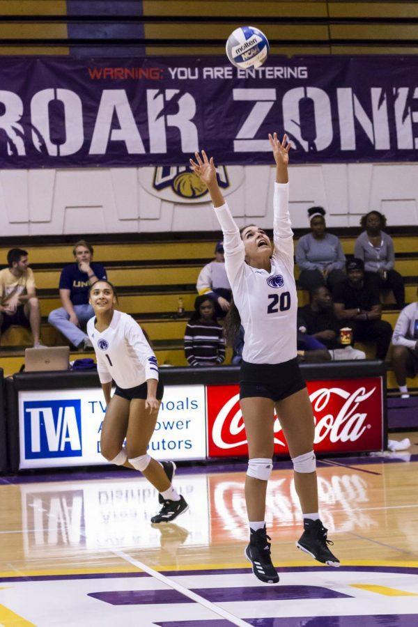 Junior Jayden Davila-McClary sets the ball to senior Jessica Austin in a match against Gulf South Conference foe Union Oct. 20, 2017. UNA plans to add beach volleyball and women's golf to athletics starting recruiting in 2018-19 athletic season, while indoor and outdoor track will end.