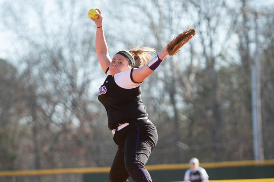 "Junior Brittany Ledbetter pitches against Lee University in a game March 4. ""A lot of our players look to Brittany as a leader, and she is great at helping our pitching staff when they need it,"" said head softball coach Ashley Cozart."
