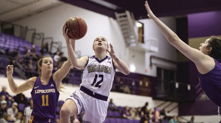 Senior+guard+Savannah+Stults+looks+to+score+a+lay-up+in+their+12-point+win+against+ASUN+foe+Lipscomb.+The+Lions+gear+up+for+the+upcoming+ASUN+tournament.%C2%A0