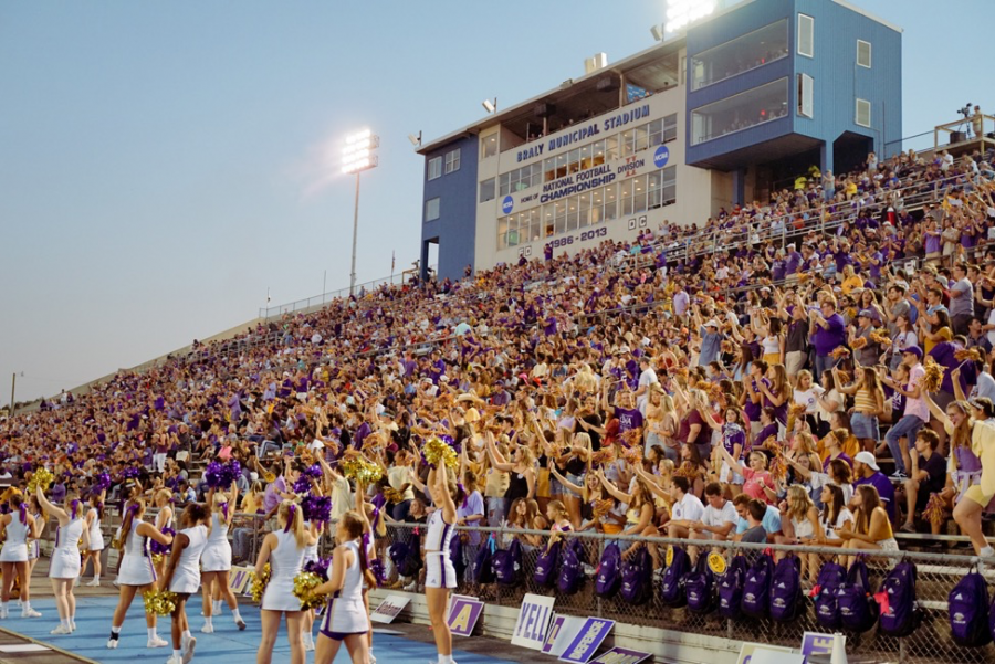 The+UNA+student+section+roars+in+excitement+as+the+Lions+earn+the+first+victory+of+the+season+against+the+Western+Illinois+Leathernecks+at+Braly+Stadium+on+August+29%2C+2019.%C2%A0