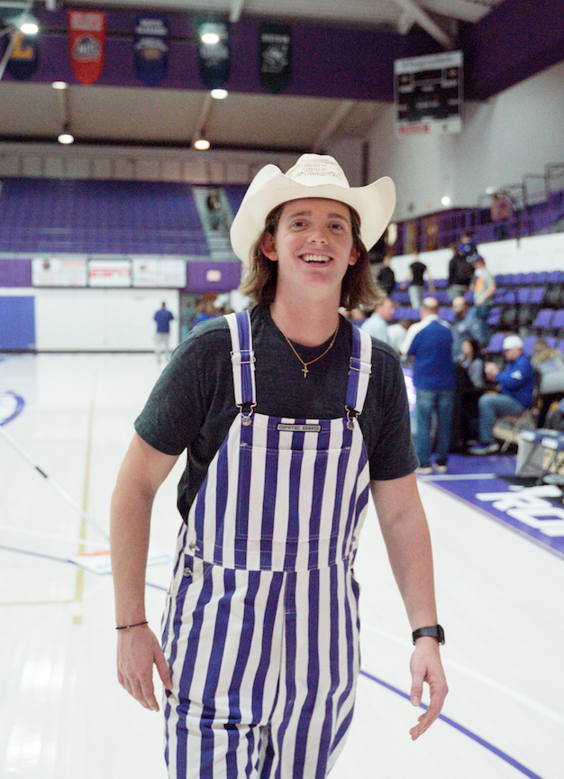 Every cowboy needs purple overalls