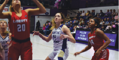 Olivia+Noah+%28No.+14%2C+Center%29+looks+to+grab+a+rebound+against+North+Alabama%E2%80%99s+conference+rival+Liberty.+She+is+shooting+45+percent+from+the+field+and+averages+9+ppg.