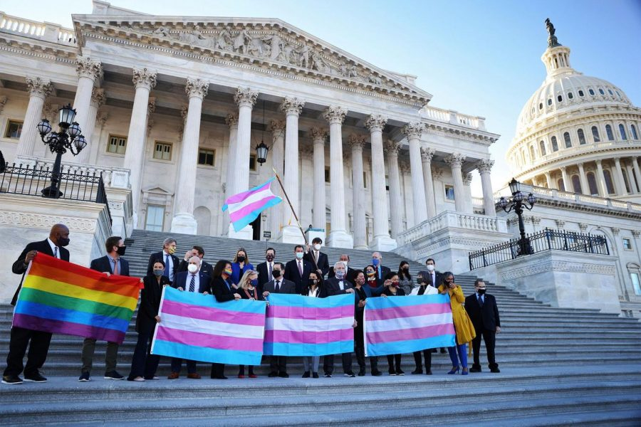 Democratic members of The House of Representatives posed in front of the U.S. Capitol Building while holding LGBTQ+ and transgender flags.