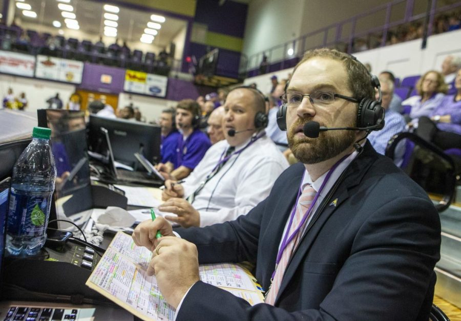 Benjamin Ray is the play-by-play commentator for seven UNA sports. Ray's job is to tell the stories of student athletes.