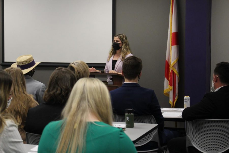 Student+Government+Association+%28SGA%29+met+for+their+first+meeting+of+the+semester+on+Aug.+26+in+the+SGA+Chambers+at+3%3A30+p.m.+Vice+President+Kayla+Walton+took+to+the+podium.