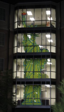 In the windows of Olive Hall, stands a four floor tall Statue of Liberty made soley of Post-It sticky notes. Freshmen Kenny Davies and Abbie Grace Warren dedicated eight hours on the mural and used up to 1,500 sticky notes.